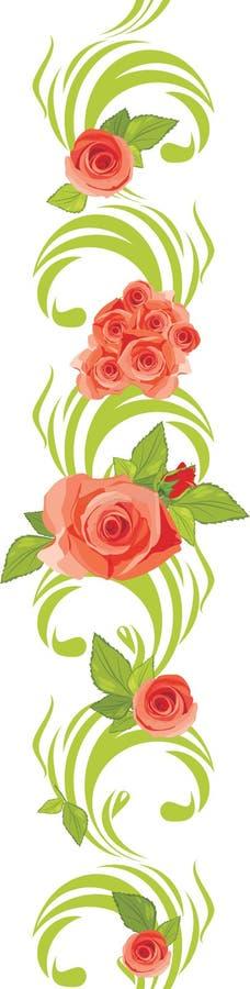 Rose dentellare di fioritura sul bordo ornamentale illustrazione di stock