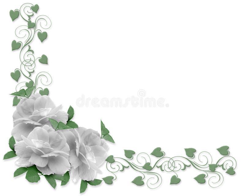 Rose di bianco del bordo dell'invito di cerimonia nuziale illustrazione di stock