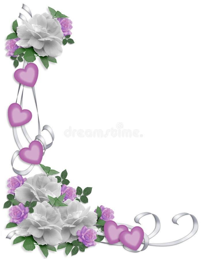Rose di bianco del bordo dell'invito di cerimonia nuziale illustrazione vettoriale