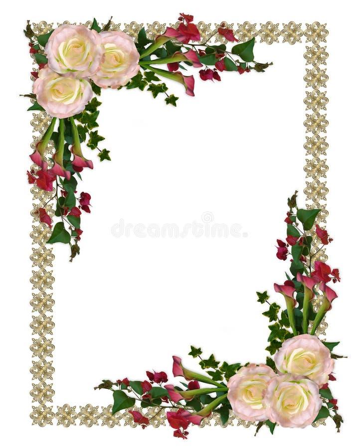 Rose di colore rosa dell'invito di cerimonia nuziale illustrazione vettoriale