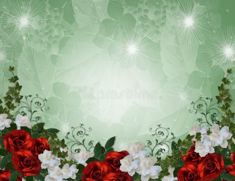 Rose di colore rosso del bordo dell'invito di cerimonia nuziale illustrazione vettoriale