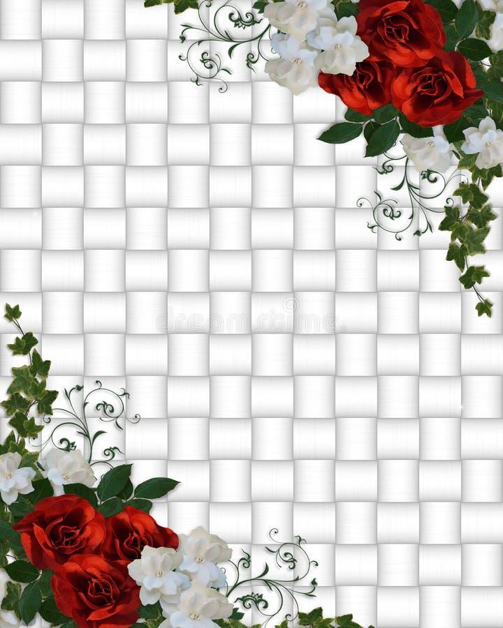 Rose di colore rosso del bordo dell'invito di cerimonia nuziale illustrazione di stock