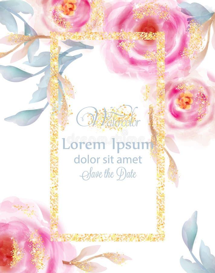 Rose di rosa dell'acquerello con il vettore dorato di scintillio Carta dell'invito, cerimonia di nozze, cartolina delicata, giorn royalty illustrazione gratis