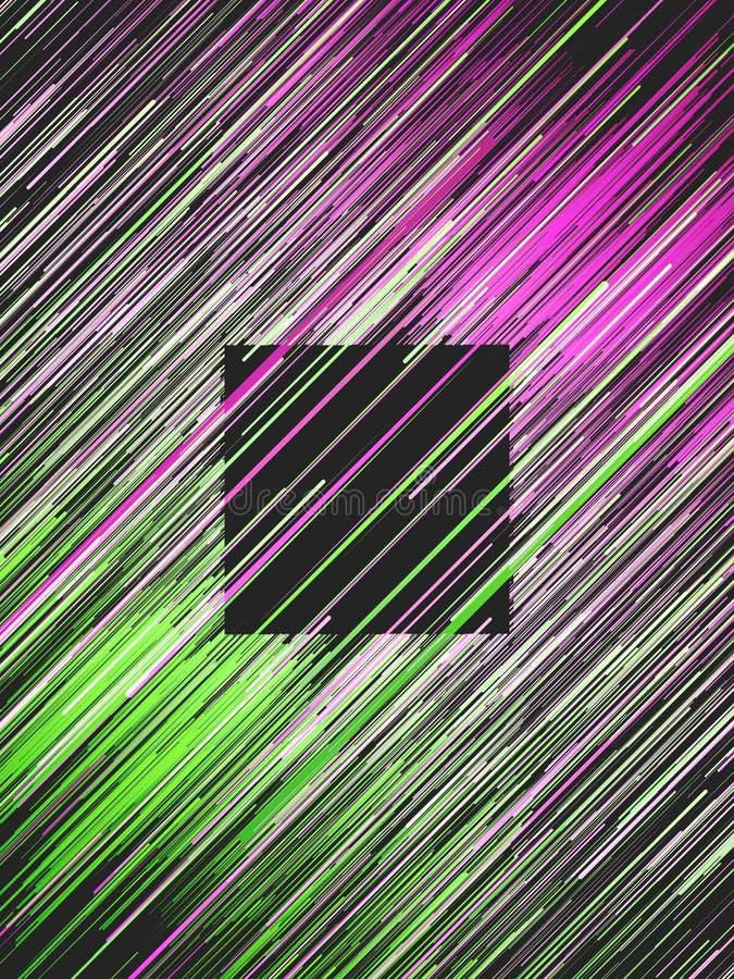 Rose diagonal de Digital et fond abstrait de Lignes Vertes Mod?le g?om?trique g?n?r? par ordinateur rendu 3d illustration de vecteur