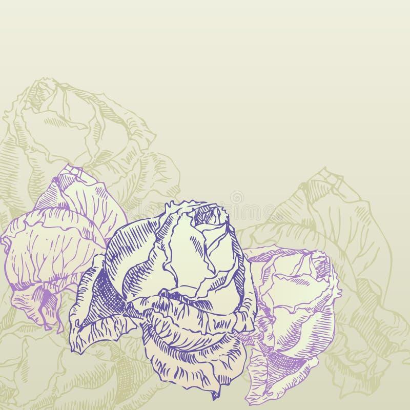 Rose disegnate a mano sulla priorità bassa di seppia illustrazione di stock