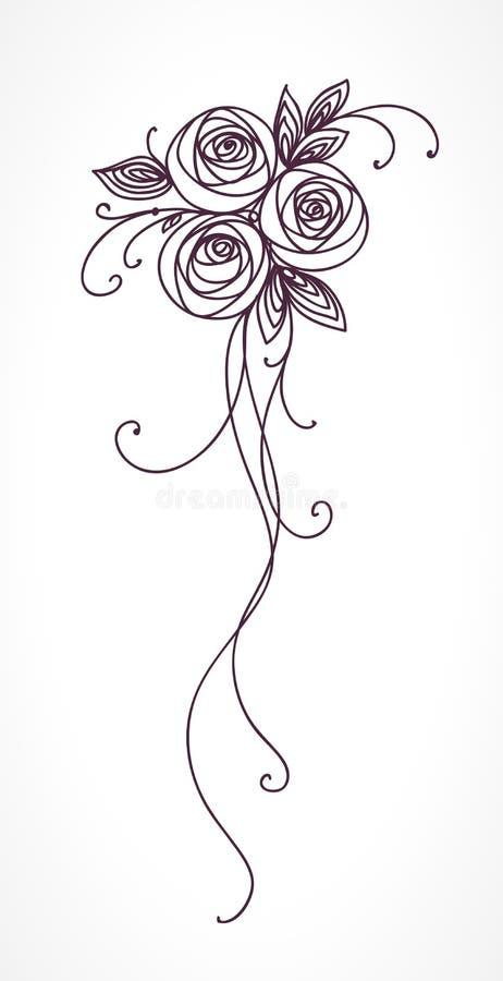 rose Disegno stilizzato della mano del mazzo del fiore illustrazione vettoriale