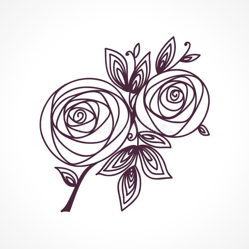 rose Disegno stilizzato della mano del mazzo del fiore Simbolo dell'icona del profilo Presente per nozze, carta dell'invito di co illustrazione vettoriale