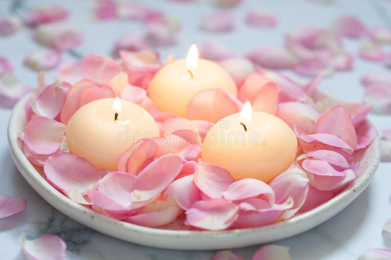 Rose e candele rosa immagine stock
