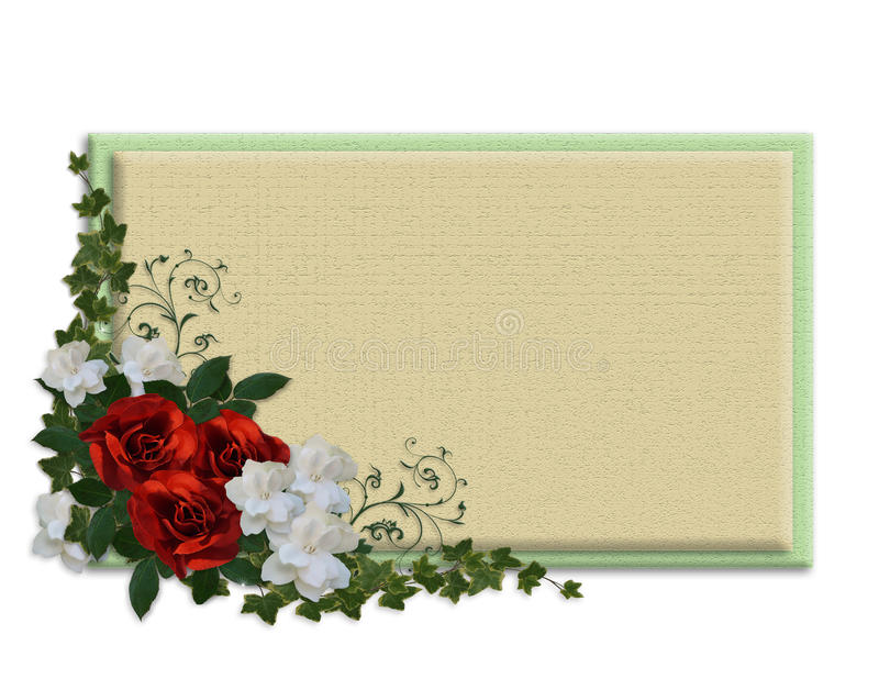 Rose e contrassegno rossi di Gardenias royalty illustrazione gratis