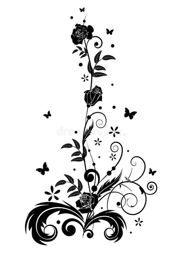Rose e farfalle illustrazione vettoriale