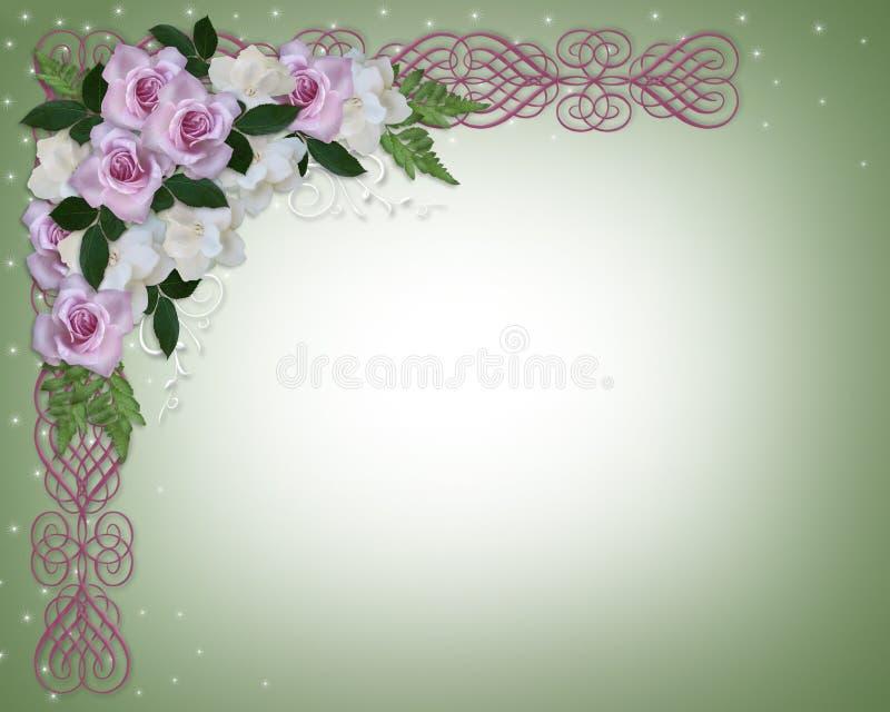 Rose e Gardenias dell'invito di cerimonia nuziale illustrazione vettoriale
