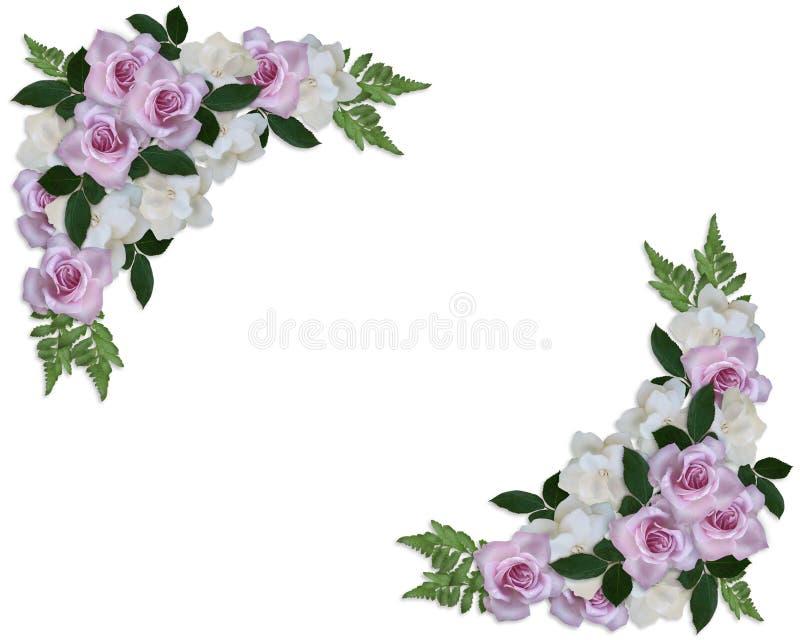 Rose e Gardenias dell'invito di cerimonia nuziale illustrazione di stock