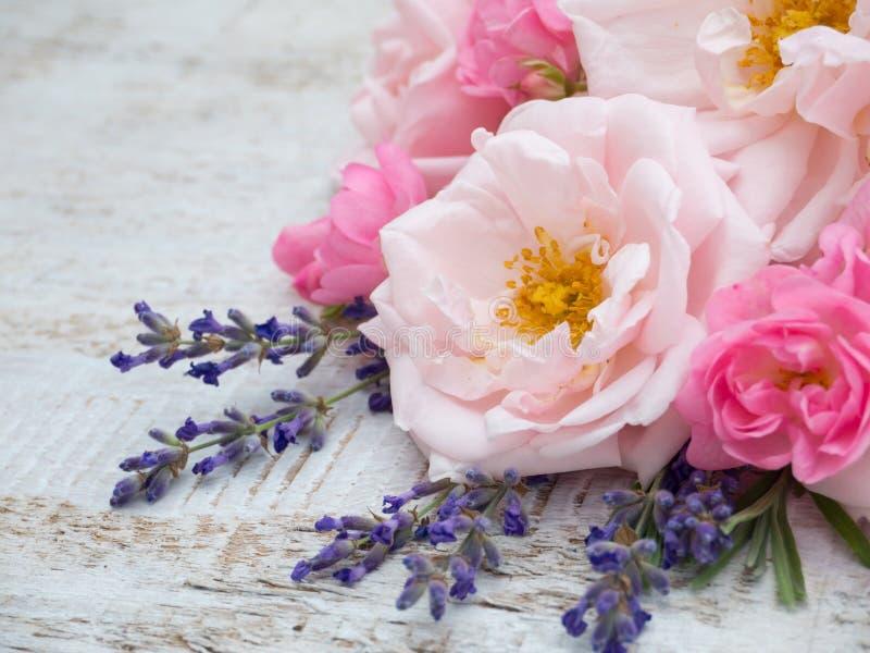 Download Rose E Mazzo Pallidi E Luminosi Della Lavanda Della Provenza Fotografia Stock - Immagine di floreale, festa: 56887736