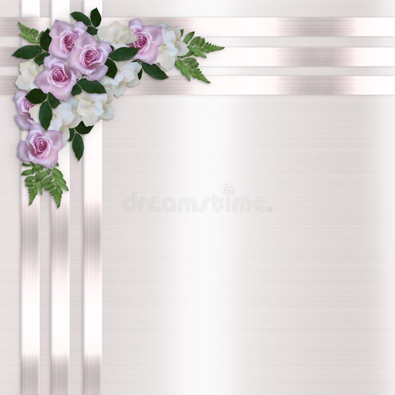 Rose e priorità bassa floreale dei nastri del raso illustrazione di stock