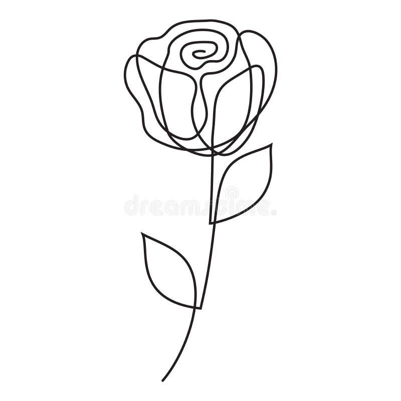 Rose eine Zwischenlage Abstrakte Linie Kunst, ununterbrochenes Federzeichnung der Blume eine Unbedeutende Kunstart Vektor vektor abbildung