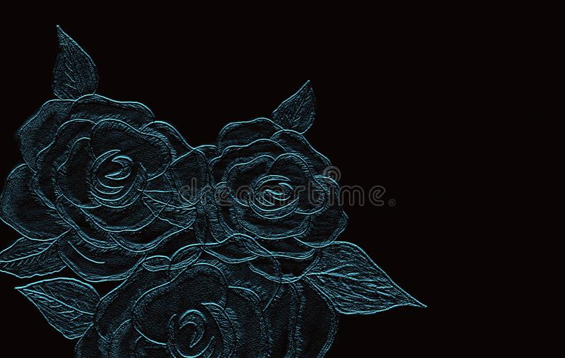 Rose embossed on black background. Hand drawn Pencil Art. stock photos