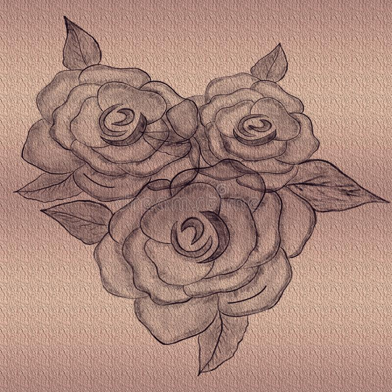 Rose embossed on textured background. Hand drawn Pencil Art. stock images