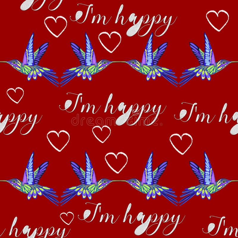Rose embroidery design and Hummingbird royalty free illustration