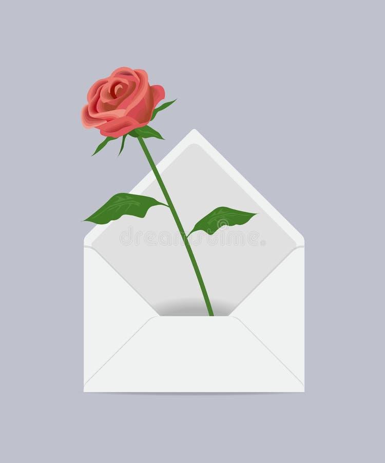 Rose en el sobre del correo libre illustration