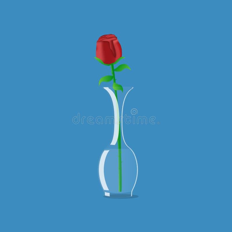 Rose en florero imagen de archivo