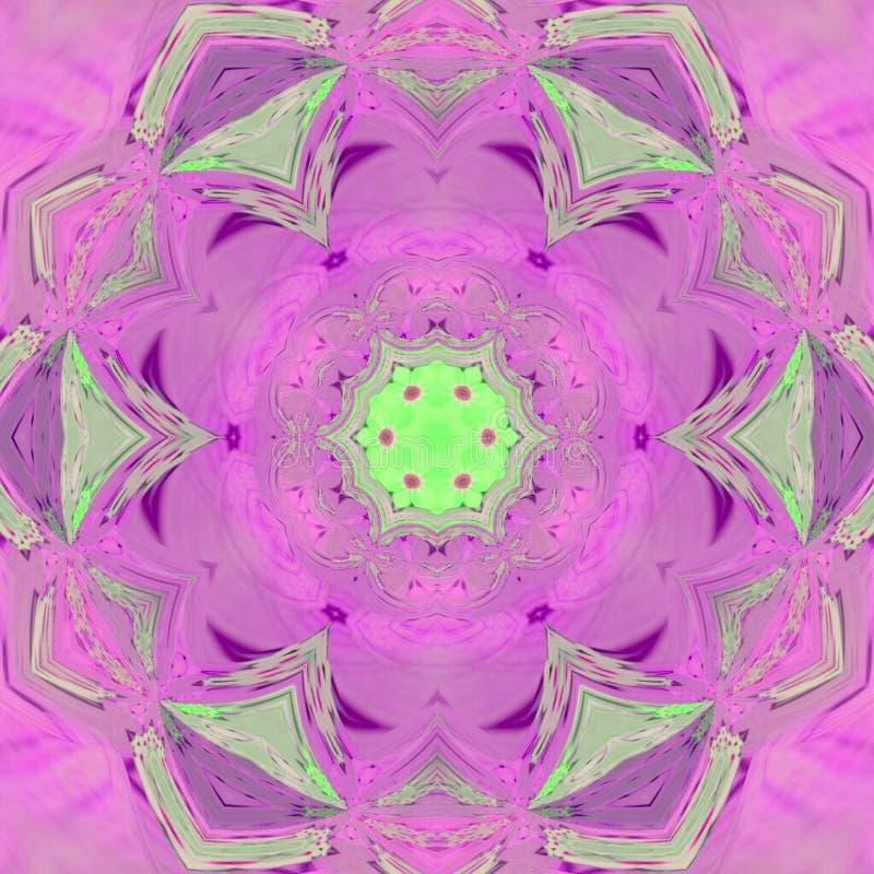 Rose en pastel avec le mandala coloré de tuile d'ornement indien vert clair de rayons illustration libre de droits