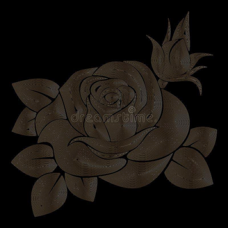 Rose en un fondo negro, rosa de oro, arte linear, ejemplo del vector, EPS 10 ilustración del vector