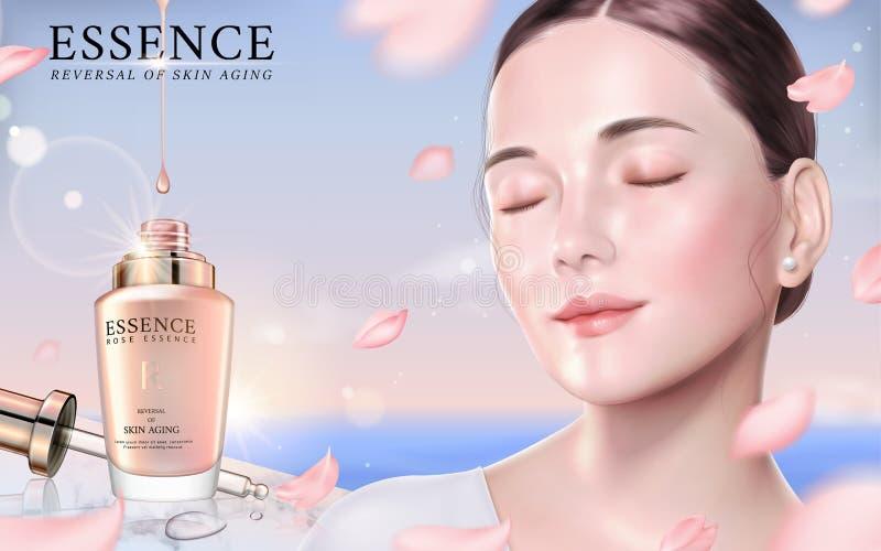 Rose essence ads. Elegant model with droplet bottle and flying petals in 3d illustration, bokeh nature background vector illustration