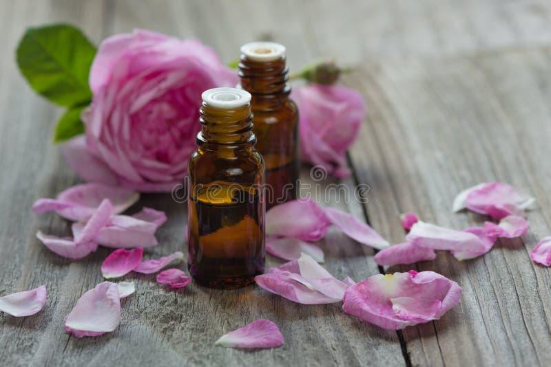 Rose essential oil stock photos