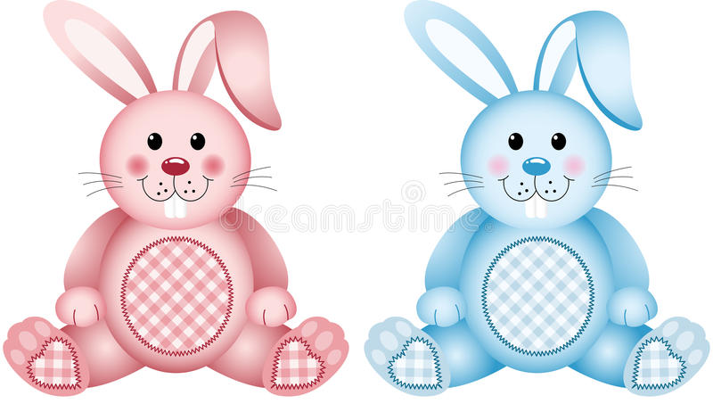 Rose et bleu de lapin de bébé illustration de vecteur