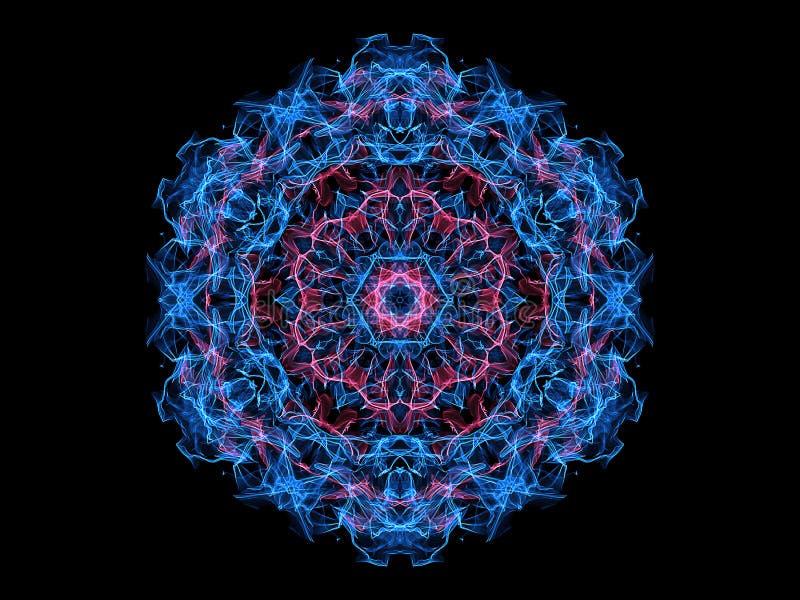 Rose et fleur abstraite bleue de mandala de flamme, modèle rond floral ornemental au néon sur le fond noir Th?me de yoga illustration de vecteur