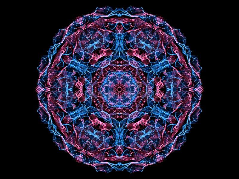 Rose et fleur abstraite bleue de mandala de flamme, modèle rond floral ornemental au néon sur le fond noir Th?me de yoga illustration libre de droits