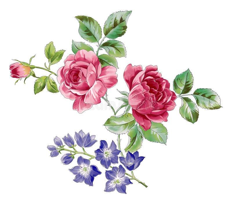 Rose et fleur sauvage bleue illustration stock