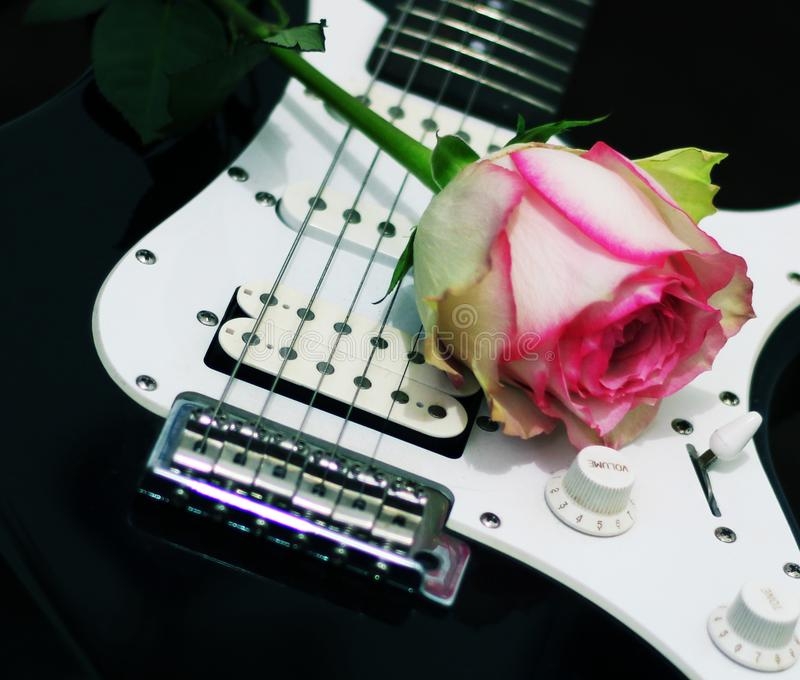 Rose et guitare photo libre de droits