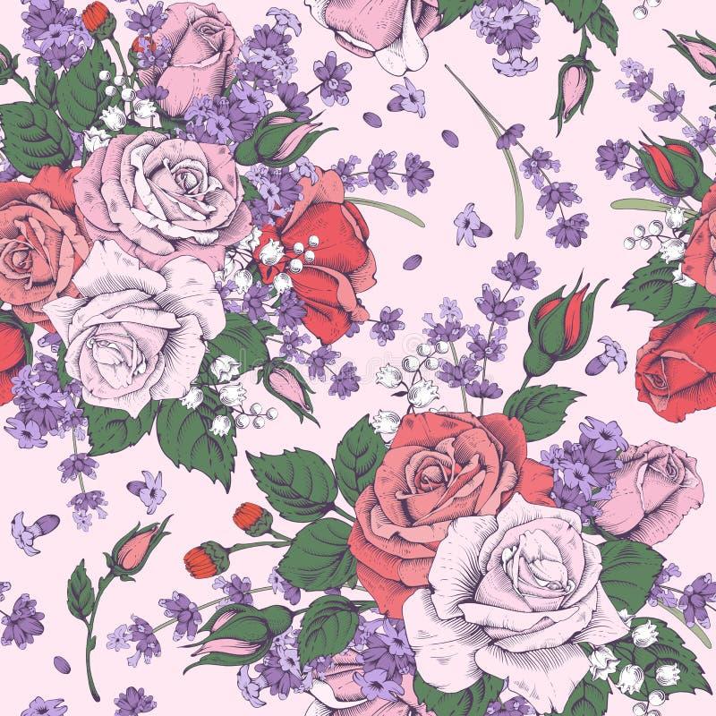 Rose et lavande illustration de vecteur