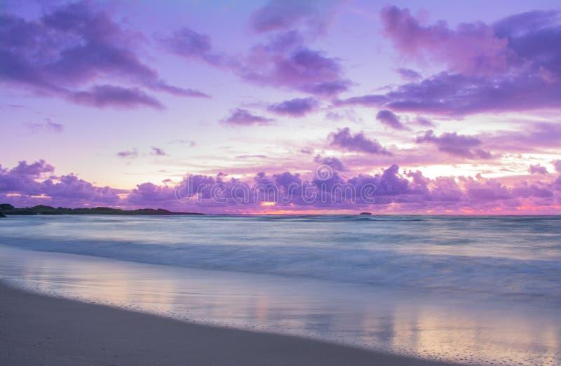 Rose et lever de soleil pourpre de bord de la mer photo stock