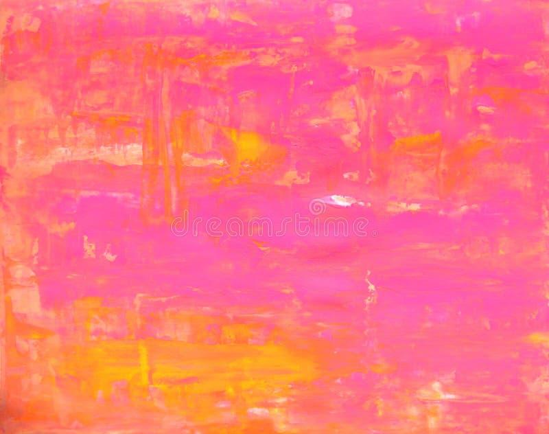 Rose et peinture orange d'art abstrait image libre de droits