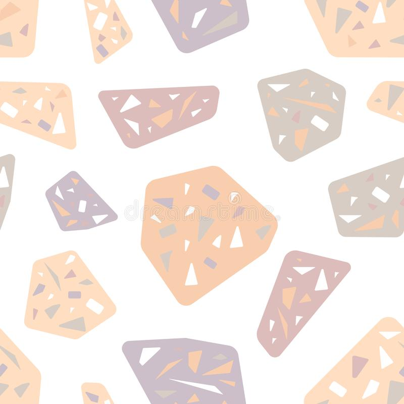Rose et pierres grises Modèle sans couture rose sensible Tendance 2019 illustration stock