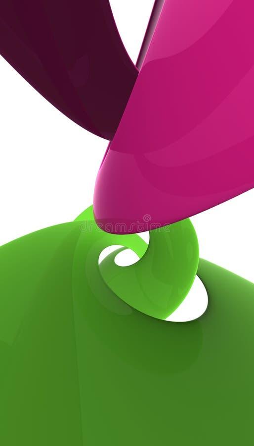 Rose et polis et se refléter en plastique verts de spirale illustration libre de droits
