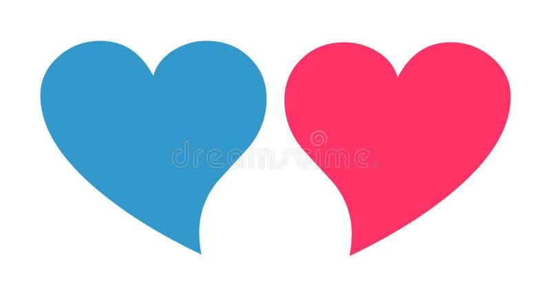 Rose et vecteur bleu de coeur Icône de coeur de genre illustration libre de droits