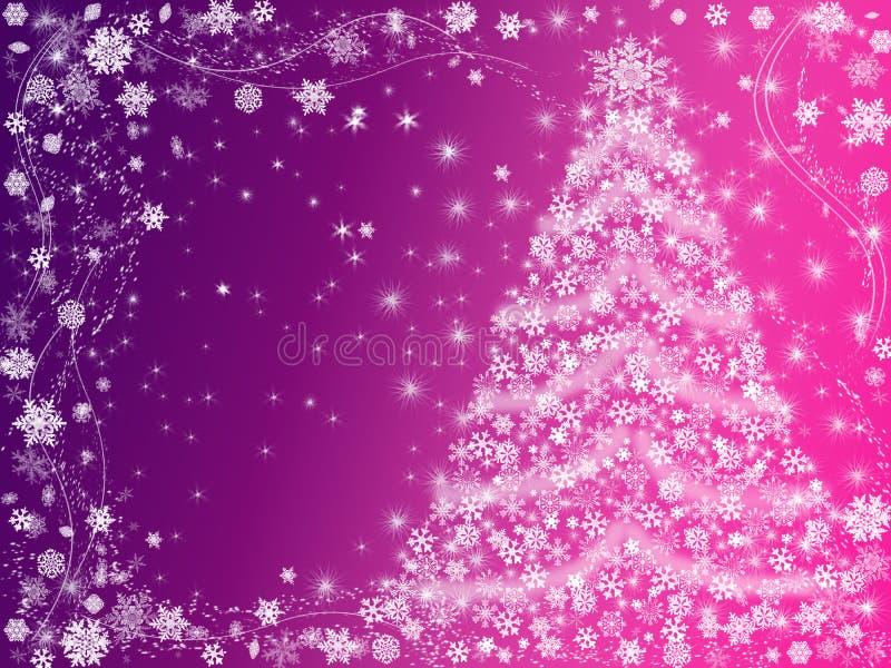 Rose et violette d'arbre de Noël illustration de vecteur