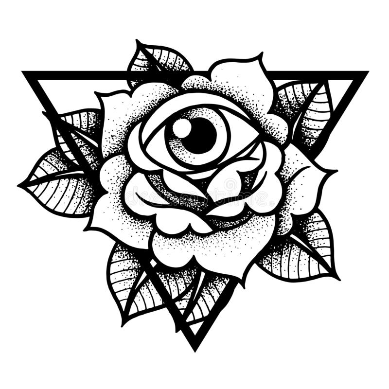 Rose and eye tattoo with sacred geometry frame. Traditional black dot style ink. Isolated vector illustration. Traditional Tattoo Flowers Set Old School royalty free illustration