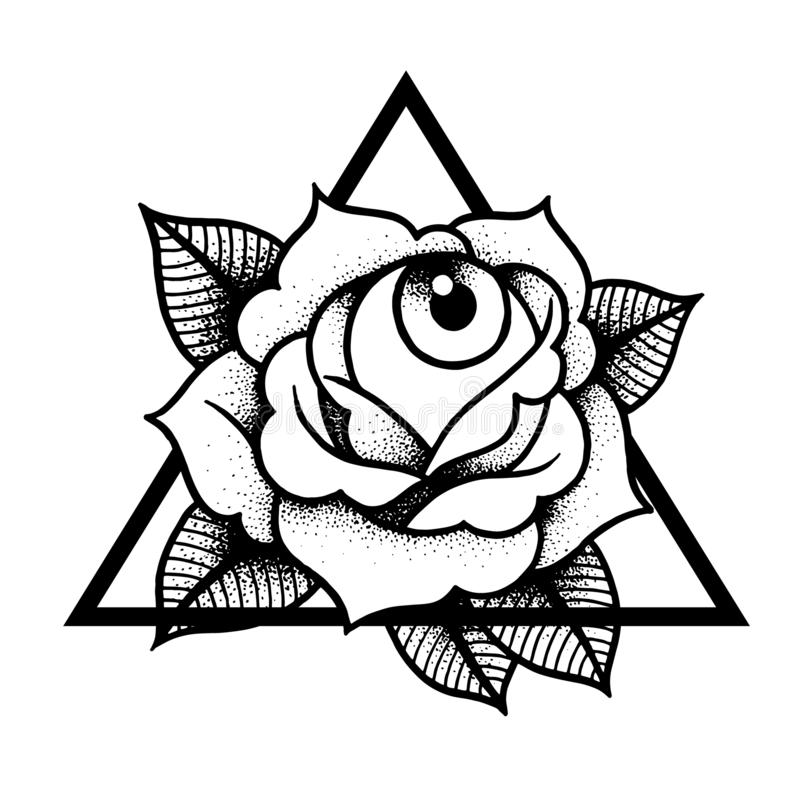 Rose and eye tattoo with sacred geometry frame. vector illustration