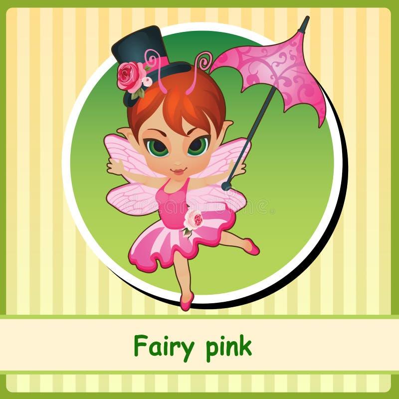 Rose féerique - fille mignonne dans la robe rose illustration de vecteur