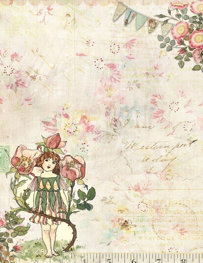 Rose Fairy mit Blumenweinlesehintergrund stock abbildung