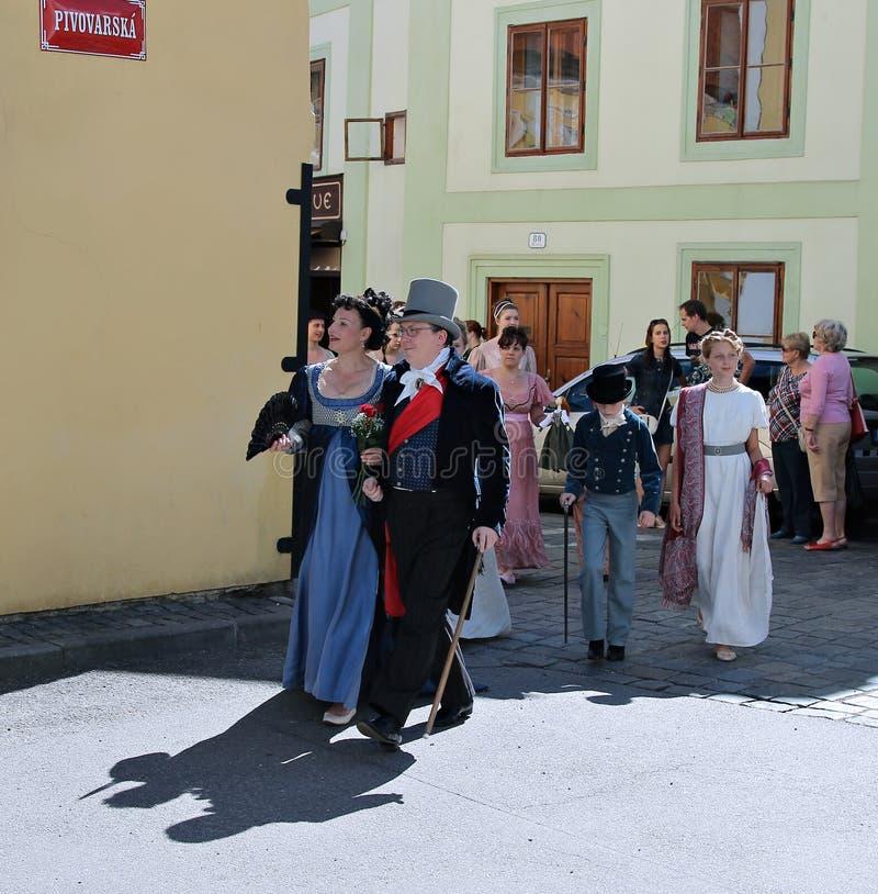 Rose Festival Cinco-petalada em Cesky Krumlov em República Checa fotografia de stock royalty free