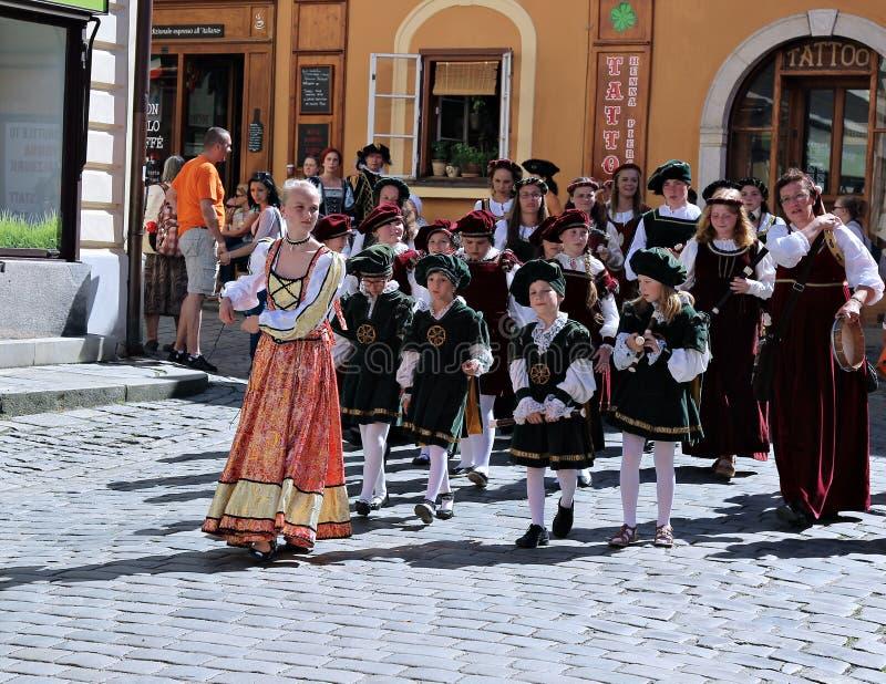 Rose Festival Cinco-petalada em Cesky Krumlov em República Checa imagens de stock royalty free