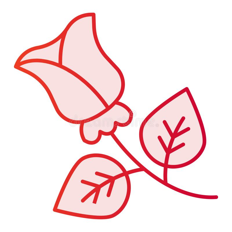 Rose Flat Icon Ícones do rosa da flor no estilo liso na moda Projeto floral do estilo do inclinação, projetado para a Web e o app ilustração stock