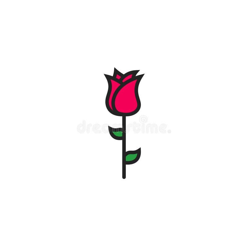 Rose Flat Icon Vector, Symbool of Embleem royalty-vrije illustratie