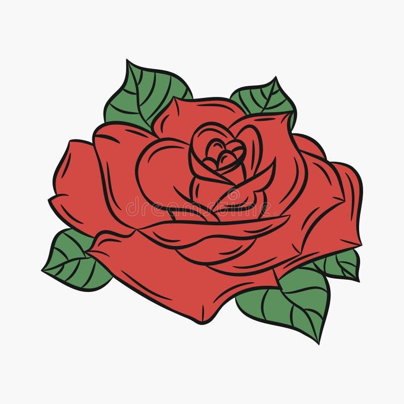 Rose, fleur avec le pétale et les feuilles rouges de vert Vecteur illustration libre de droits