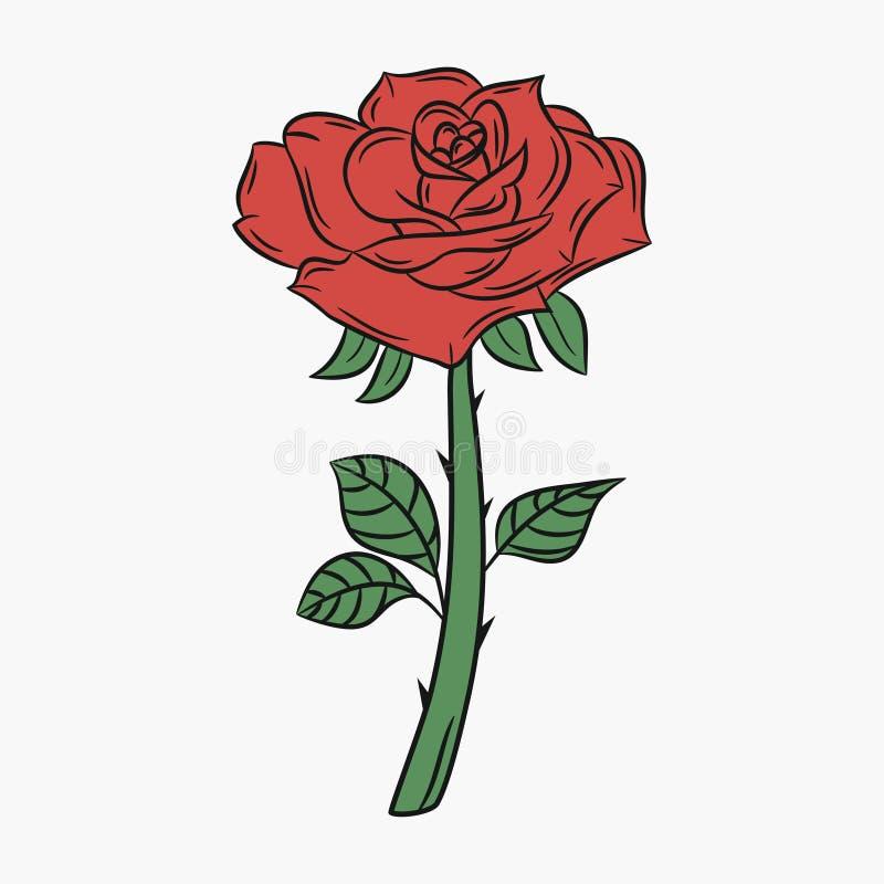 Rose, flor con un tronco y las espinas Brote con los pétalos rojos ilustración del vector